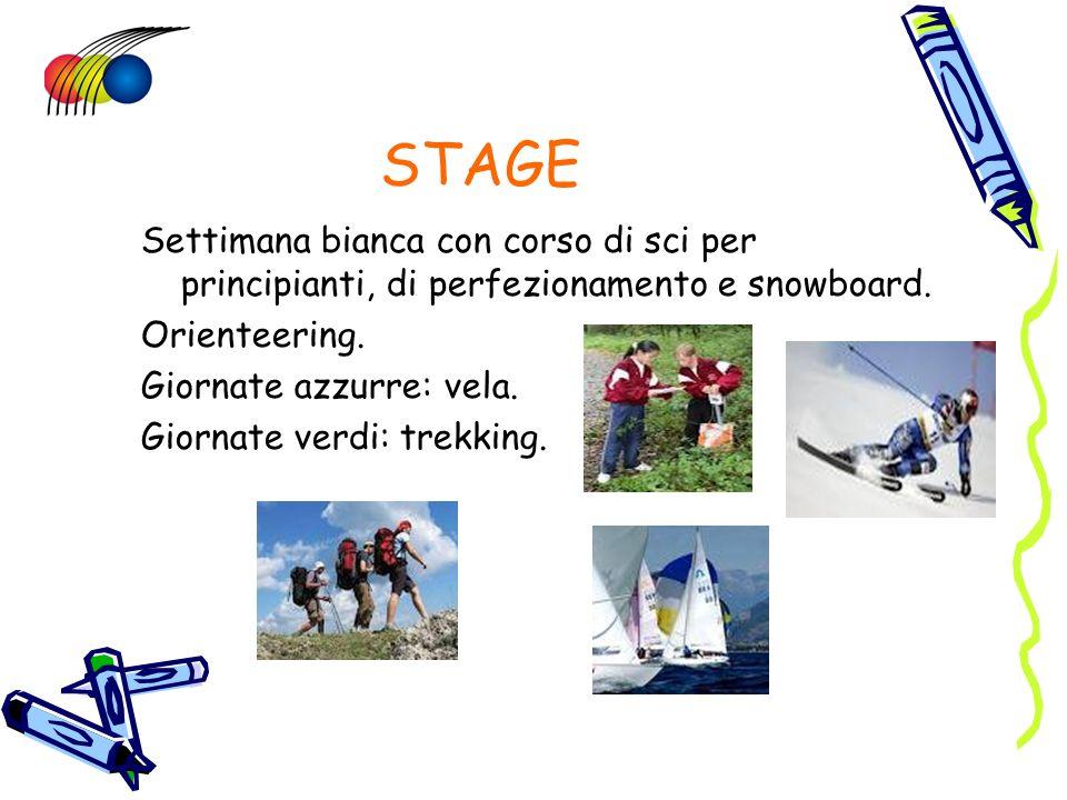 STAGE Settimana bianca con corso di sci per principianti, di perfezionamento e snowboard. Orienteering. Giornate azzurre: vela. Giornate verdi: trekki