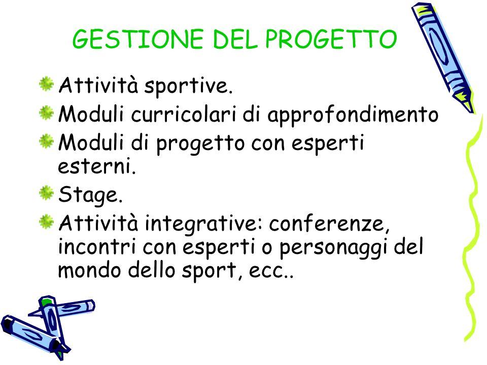 GESTIONE DEL PROGETTO Attività sportive.