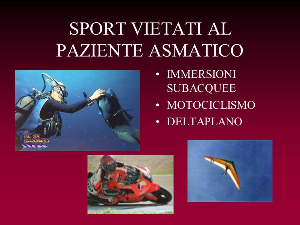 SPORT VIETATI AL PAZIENTE ASMATICO IMMERSIONI SUBACQUEE MOTOCICLISMO DELTAPLANO