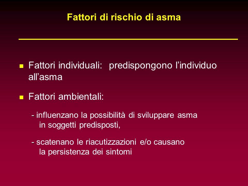 Fattori individuali: predispongono lindividuo allasma Fattori ambientali: - - influenzano la possibilità di sviluppare asma in soggetti predisposti, -