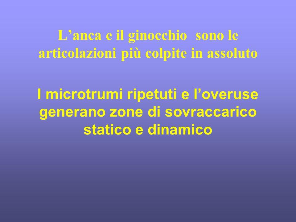 Lanca e il ginocchio sono le articolazioni più colpite in assoluto I microtrumi ripetuti e loveruse generano zone di sovraccarico statico e dinamico
