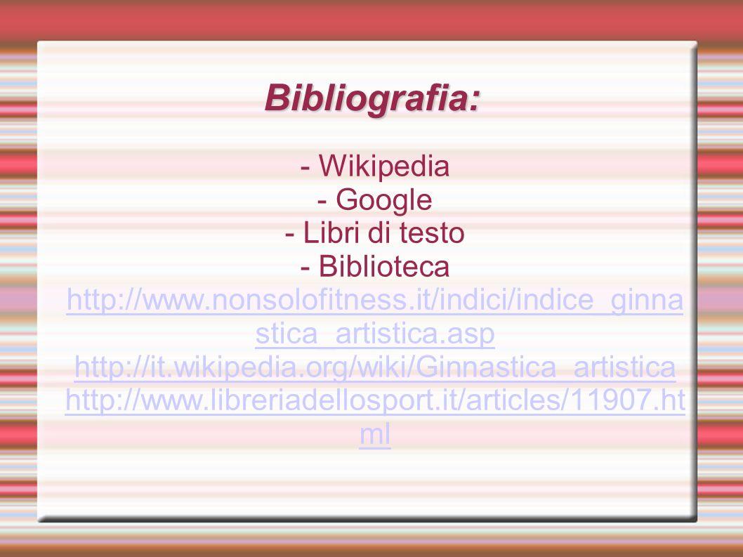 Bibliografia: - Wikipedia - Google - Libri di testo - Biblioteca http://www.nonsolofitness.it/indici/indice_ginna stica_artistica.asp http://www.nonsolofitness.it/indici/indice_ginna stica_artistica.asp http://it.wikipedia.org/wiki/Ginnastica_artistica http://www.libreriadellosport.it/articles/11907.ht ml
