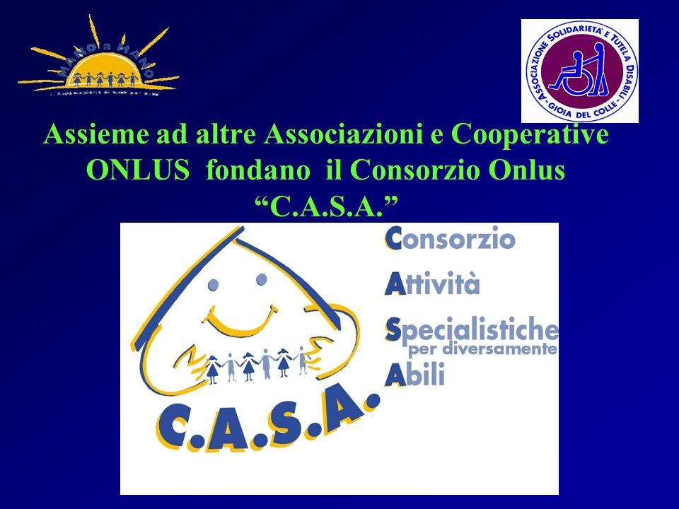 Assieme ad altre Associazioni e Cooperative ONLUS fondano il Consorzio Onlus C.A.S.A.