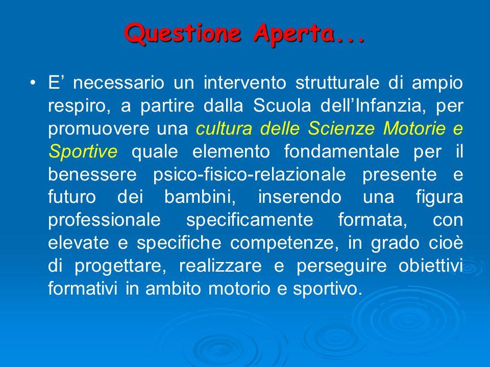 Questione Aperta... E necessario un intervento strutturale di ampio respiro, a partire dalla Scuola dellInfanzia, per promuovere una cultura delle Sci