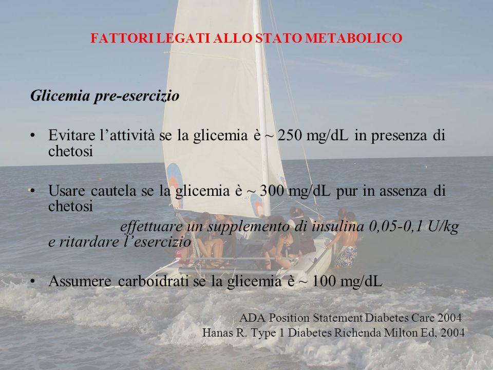 FATTORI LEGATI ALLO STATO METABOLICO Glicemia pre-esercizio Evitare lattività se la glicemia è ~ 250 mg/dL in presenza di chetosi Usare cautela se la