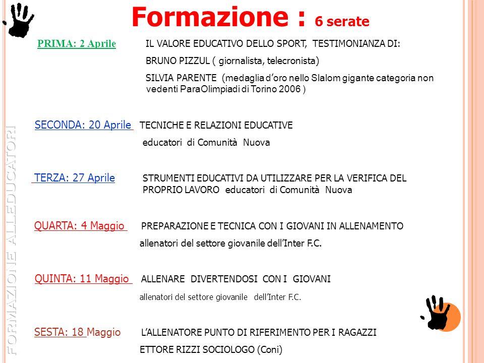 Formazione : 6 serate PRIMA: 2 Aprile IL VALORE EDUCATIVO DELLO SPORT, TESTIMONIANZA DI: BRUNO PIZZUL ( giornalista, telecronista) SILVIA PARENTE ( me