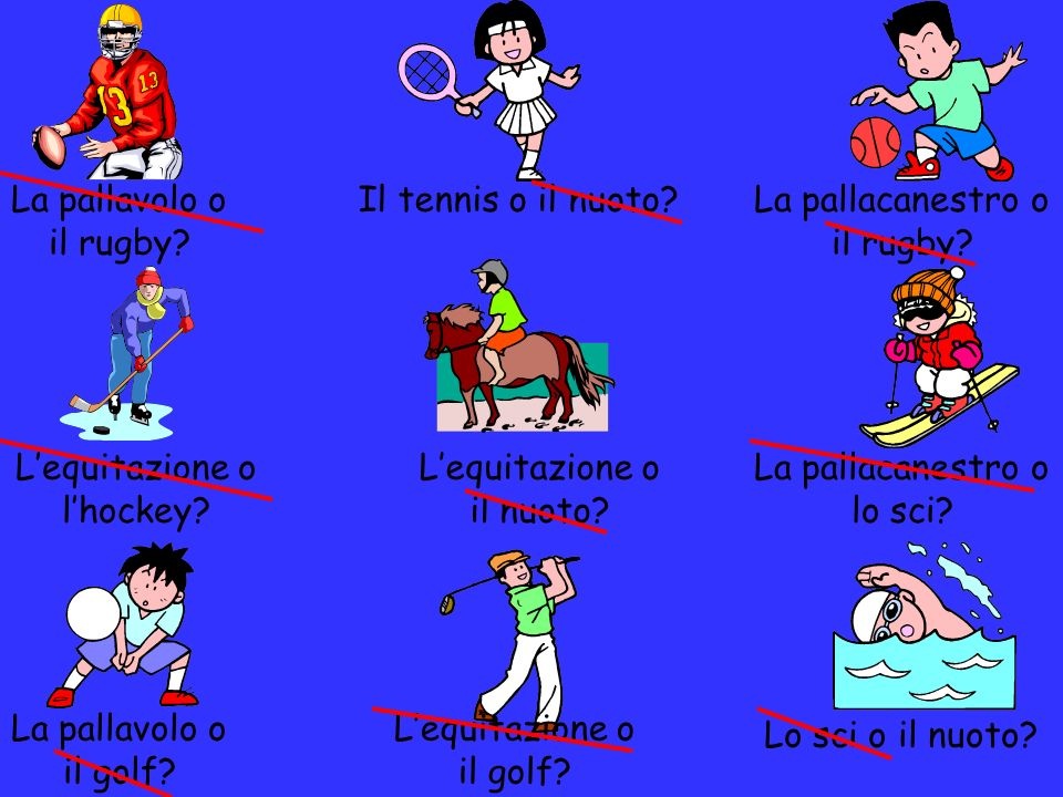 I compiti E a te, cosa piace.Write which sports you like and which ones you dont.