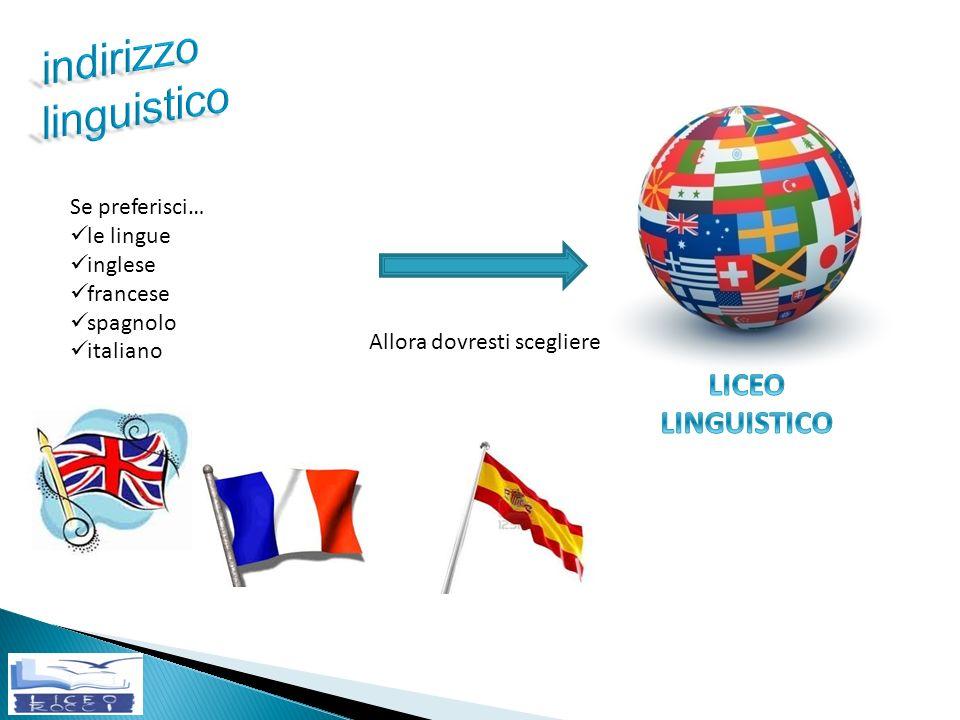 Se preferisci… le lingue inglese francese spagnolo italiano Allora dovresti scegliere