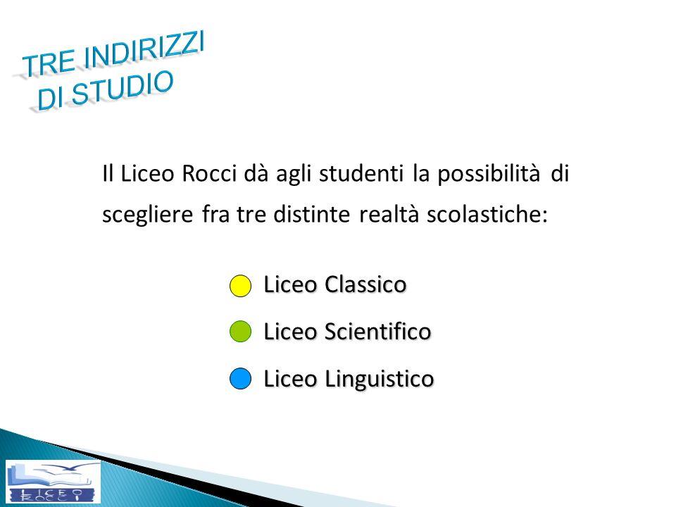 Liceo Classico Liceo Scientifico Liceo Linguistico Il Liceo Rocci dà agli studenti la possibilità di scegliere fra tre distinte realtà scolastiche: