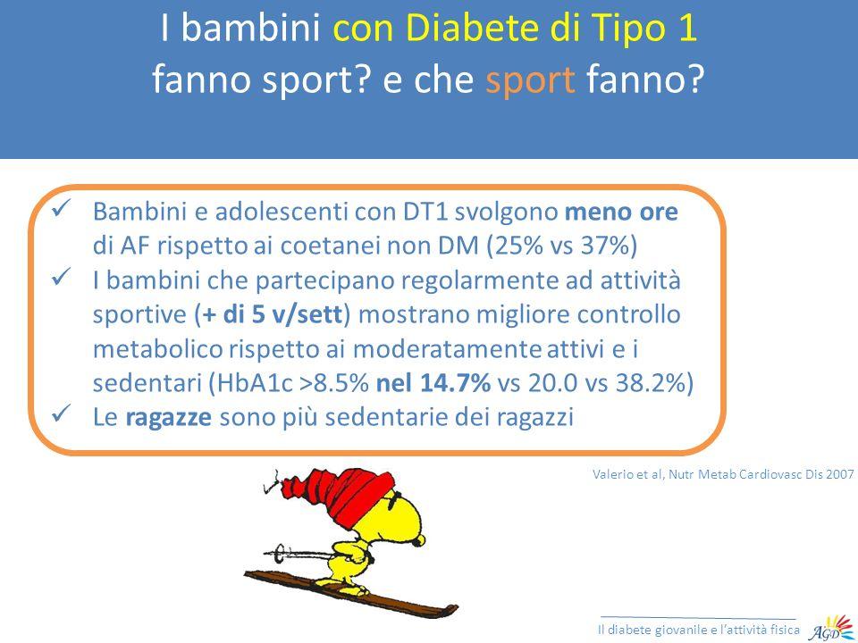 I bambini con Diabete di Tipo 1 fanno sport? e che sport fanno? Il diabete giovanile e lattività fisica Bambini e adolescenti con DT1 svolgono meno or
