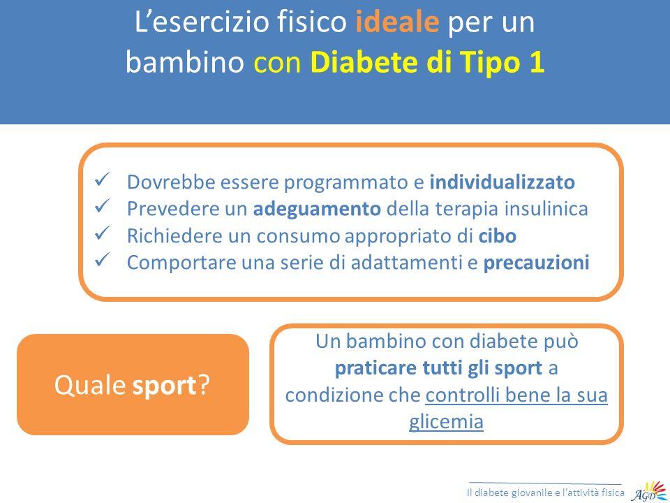 Lesercizio fisico ideale per un bambino con Diabete di Tipo 1 Il diabete giovanile e lattività fisica Dovrebbe essere programmato e individualizzato P