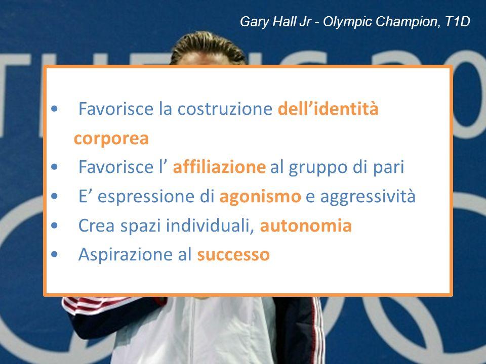 Gary Hall Jr - Olympic Champion, T1D Favorisce la costruzione dellidentità corporea Favorisce l affiliazione al gruppo di pari E espressione di agonis