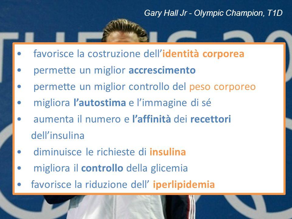 Gary Hall Jr - Olympic Champion, T1D favorisce la costruzione dellidentità corporea permette un miglior accrescimento permette un miglior controllo de