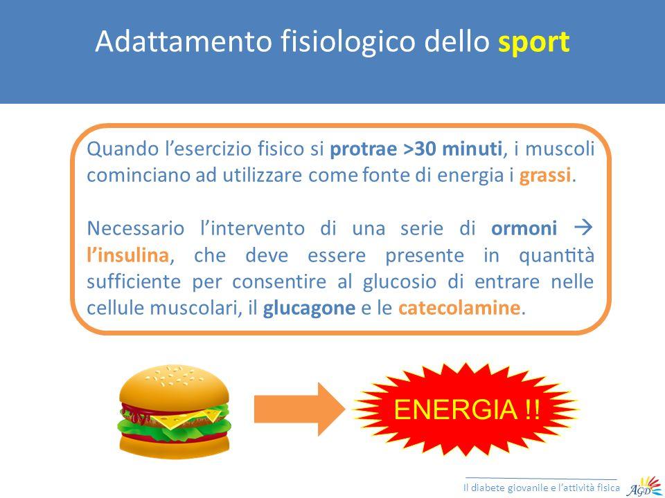 Effetto dello sport (soggetto senza diabete) Il diabete giovanile e lattività fisica Insulina Plasmatica Glucagone circolante Catecolamine Euglicemia
