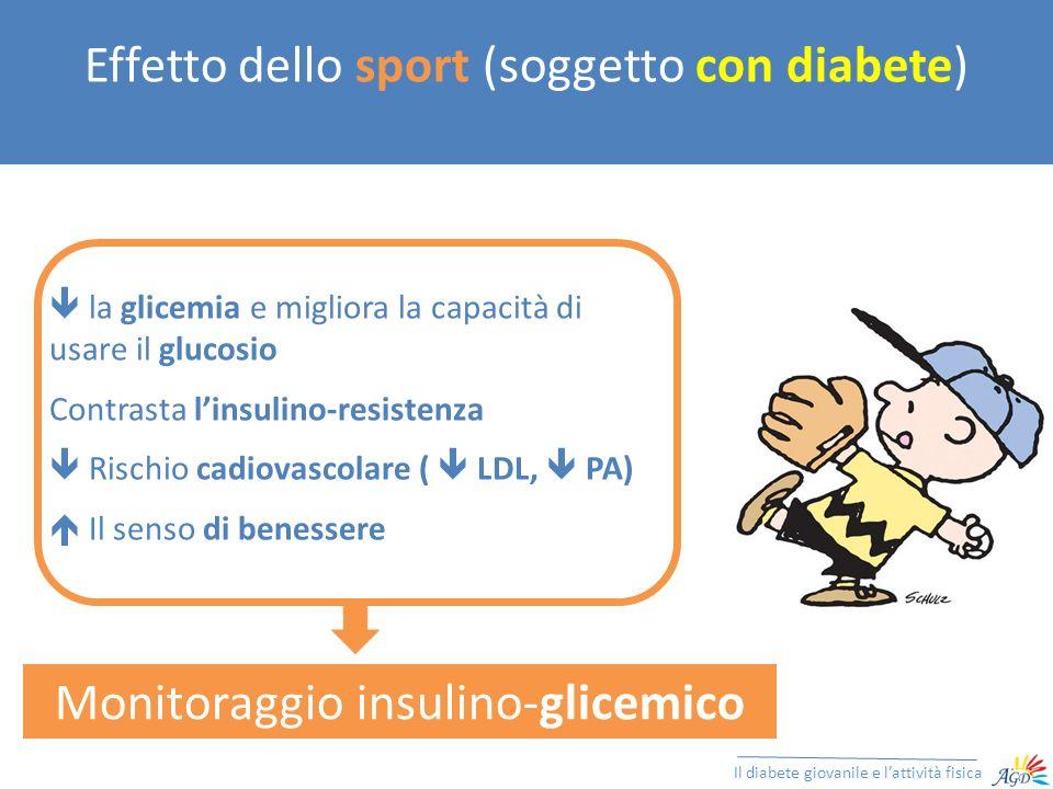 Effetto dello sport (soggetto con diabete) Il diabete giovanile e lattività fisica Ridotta Insulinemia Ormoni Controregolatori Iperinsulinismo Rischio Chetoacidosi Glicemia Corpi Chetonici Mobilizzazione dei Substrati Rischio Ipoglicemia