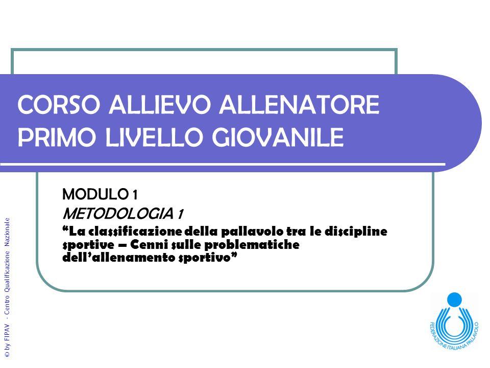 © by FIPAV - Centro Qualificazione Nazionale CORSO ALLIEVO ALLENATORE PRIMO LIVELLO GIOVANILE MODULO 1 METODOLOGIA 1 La classificazione della pallavol
