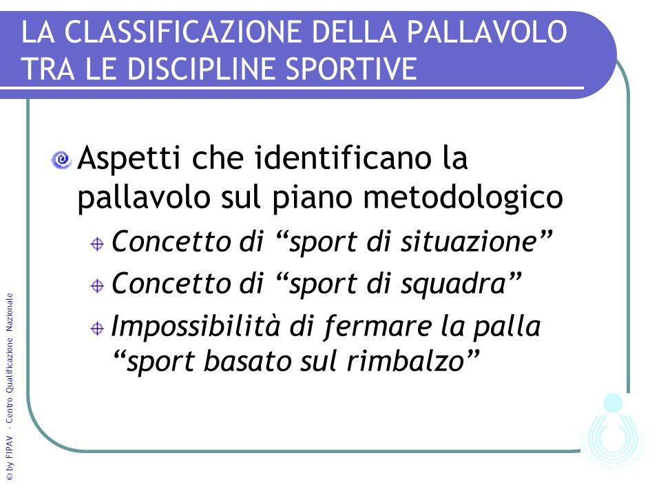 © by FIPAV - Centro Qualificazione Nazionale LA CLASSIFICAZIONE DELLA PALLAVOLO TRA LE DISCIPLINE SPORTIVE Aspetti che identificano la pallavolo sul p