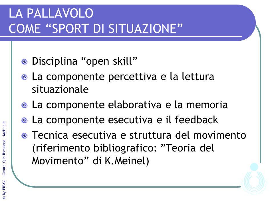 © by FIPAV - Centro Qualificazione Nazionale LA PALLAVOLO COME SPORT DI SITUAZIONE Disciplina open skill La componente percettiva e la lettura situazi