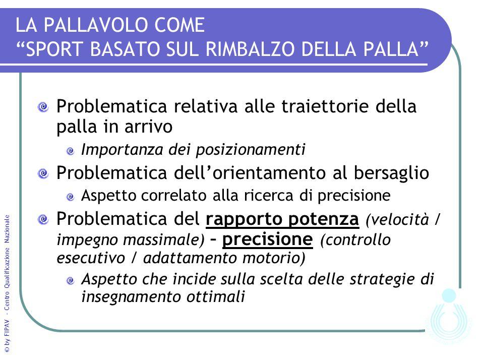 © by FIPAV - Centro Qualificazione Nazionale LA PALLAVOLO COME SPORT BASATO SUL RIMBALZO DELLA PALLA Problematica relativa alle traiettorie della pall