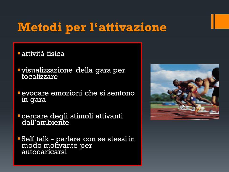 Metodi per lattivazione attività fisica visualizzazione della gara per focalizzare evocare emozioni che si sentono in gara cercare degli stimoli attiv