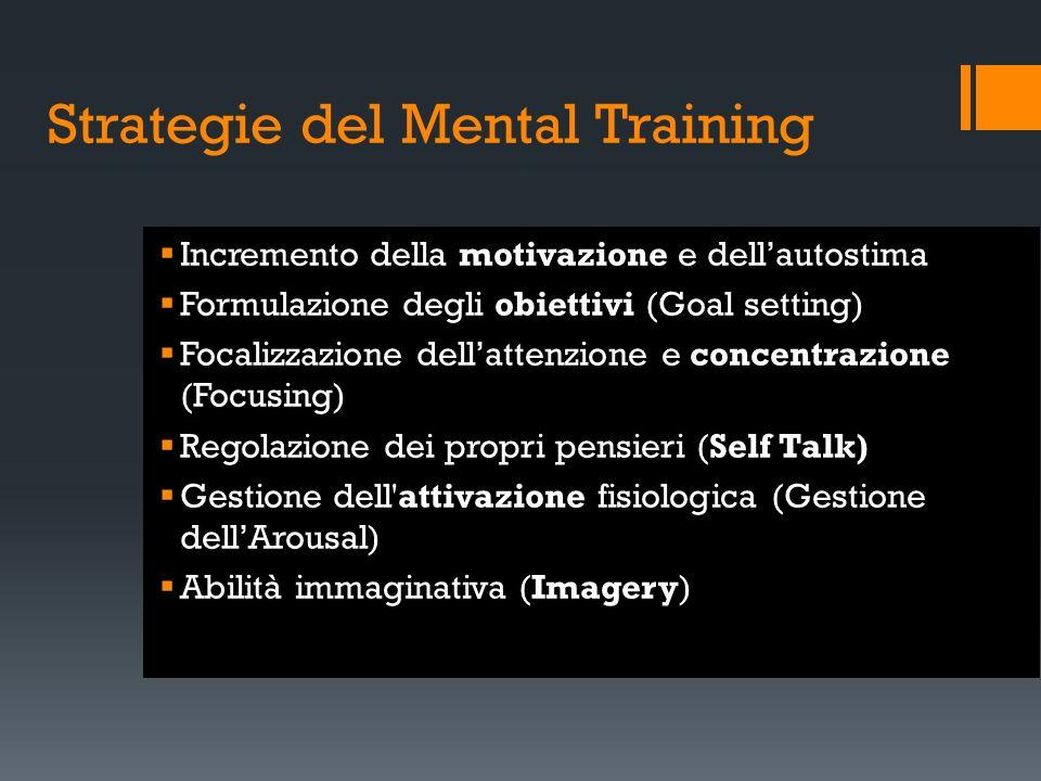 Strategie del Mental Training Incremento della motivazione e dellautostima Formulazione degli obiettivi (Goal setting) Focalizzazione dellattenzione e