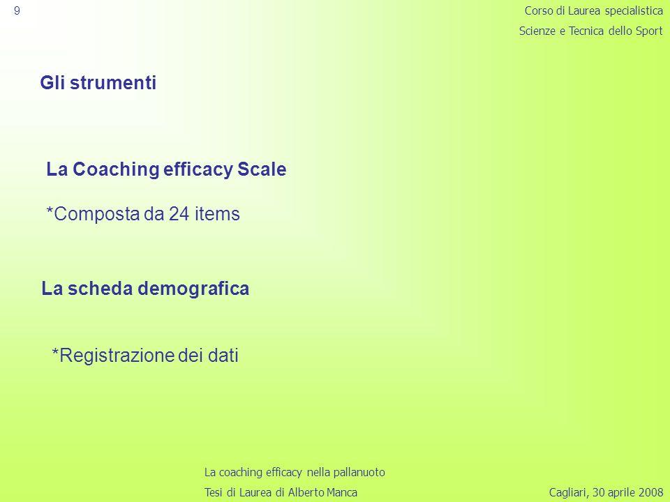 Cagliari, 30 aprile 2008 9 Gli strumenti La Coaching efficacy Scale *Composta da 24 items Corso di Laurea specialistica Scienze e Tecnica dello Sport La coaching efficacy nella pallanuoto Tesi di Laurea di Alberto Manca La scheda demografica *Registrazione dei dati