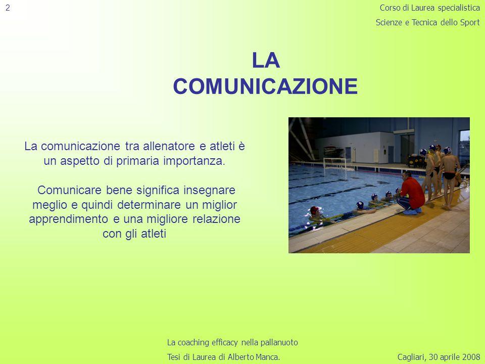 Cagliari, 30 aprile 2008 2 Corso di Laurea specialistica Scienze e Tecnica dello Sport La coaching efficacy nella pallanuoto Tesi di Laurea di Alberto Manca.