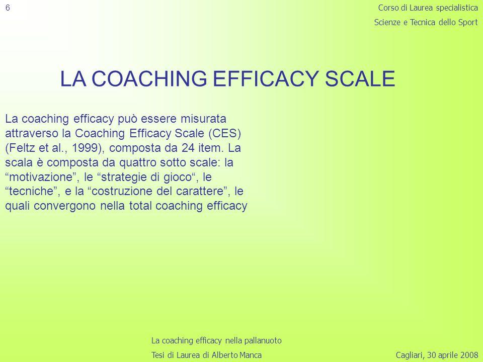 Cagliari, 30 aprile 2008 6 LA COACHING EFFICACY SCALE Corso di Laurea specialistica Scienze e Tecnica dello Sport La coaching efficacy nella pallanuoto Tesi di Laurea di Alberto Manca La coaching efficacy può essere misurata attraverso la Coaching Efficacy Scale (CES) (Feltz et al., 1999), composta da 24 item.