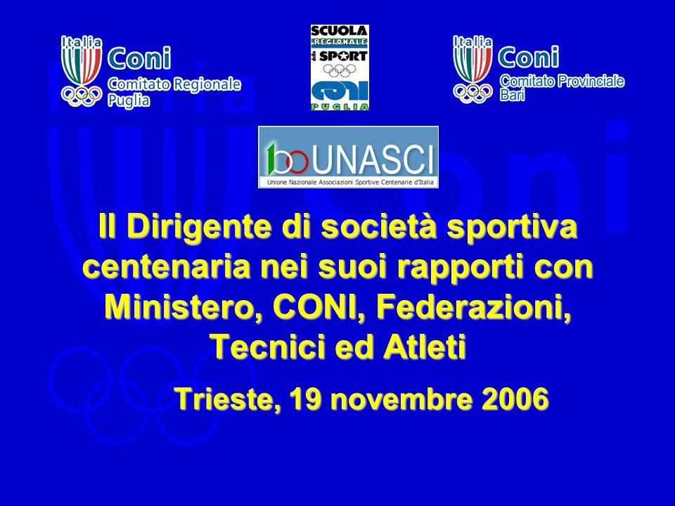Il Dirigente di società sportiva centenaria nei suoi rapporti con Ministero, CONI, Federazioni, Tecnici ed Atleti Trieste, 19 novembre 2006