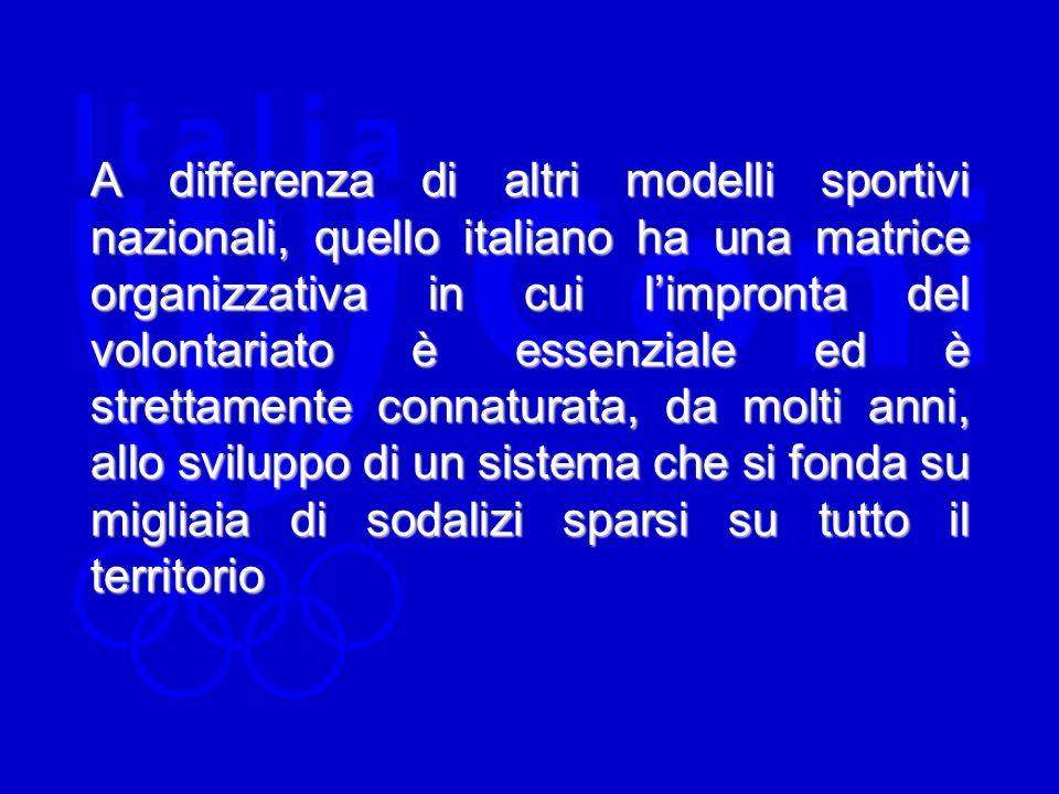 A differenza di altri modelli sportivi nazionali, quello italiano ha una matrice organizzativa in cui limpronta del volontariato è essenziale ed è strettamente connaturata, da molti anni, allo sviluppo di un sistema che si fonda su migliaia di sodalizi sparsi su tutto il territorio