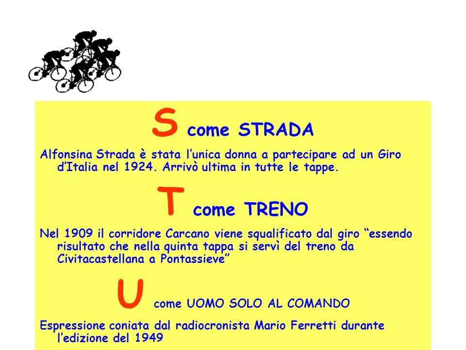 S come STRADA Alfonsina Strada è stata lunica donna a partecipare ad un Giro dItalia nel 1924. Arrivò ultima in tutte le tappe. T come TRENO Nel 1909