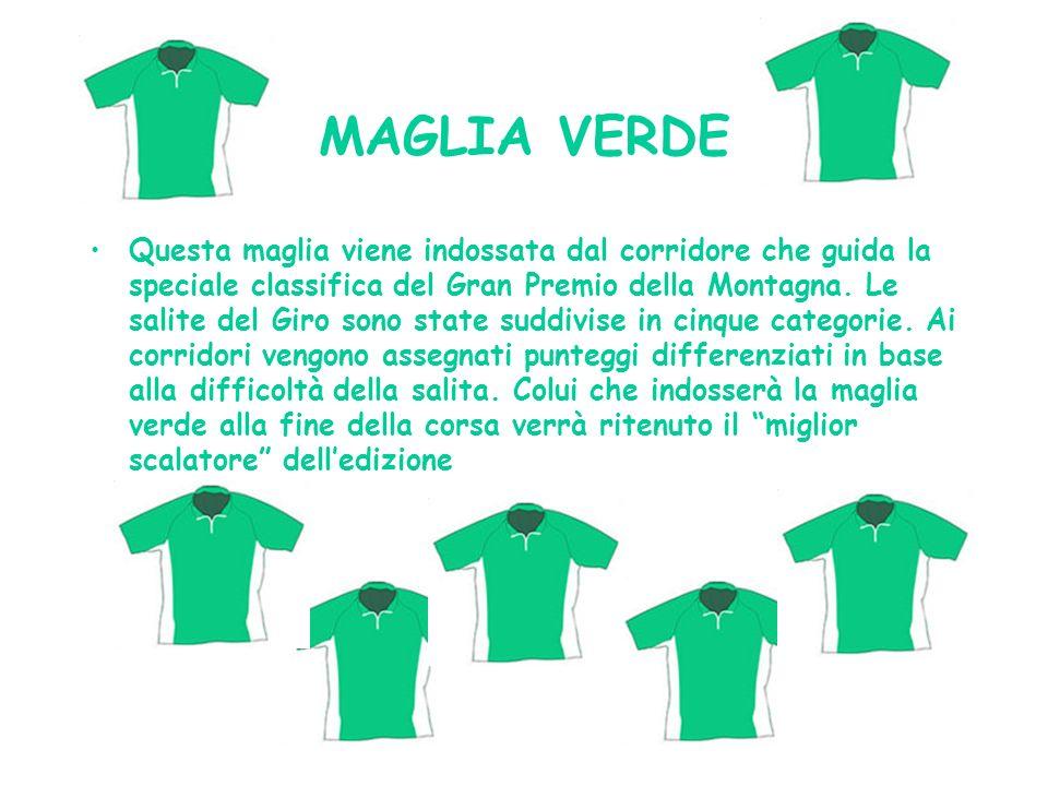 MAGLIA VERDE Questa maglia viene indossata dal corridore che guida la speciale classifica del Gran Premio della Montagna. Le salite del Giro sono stat