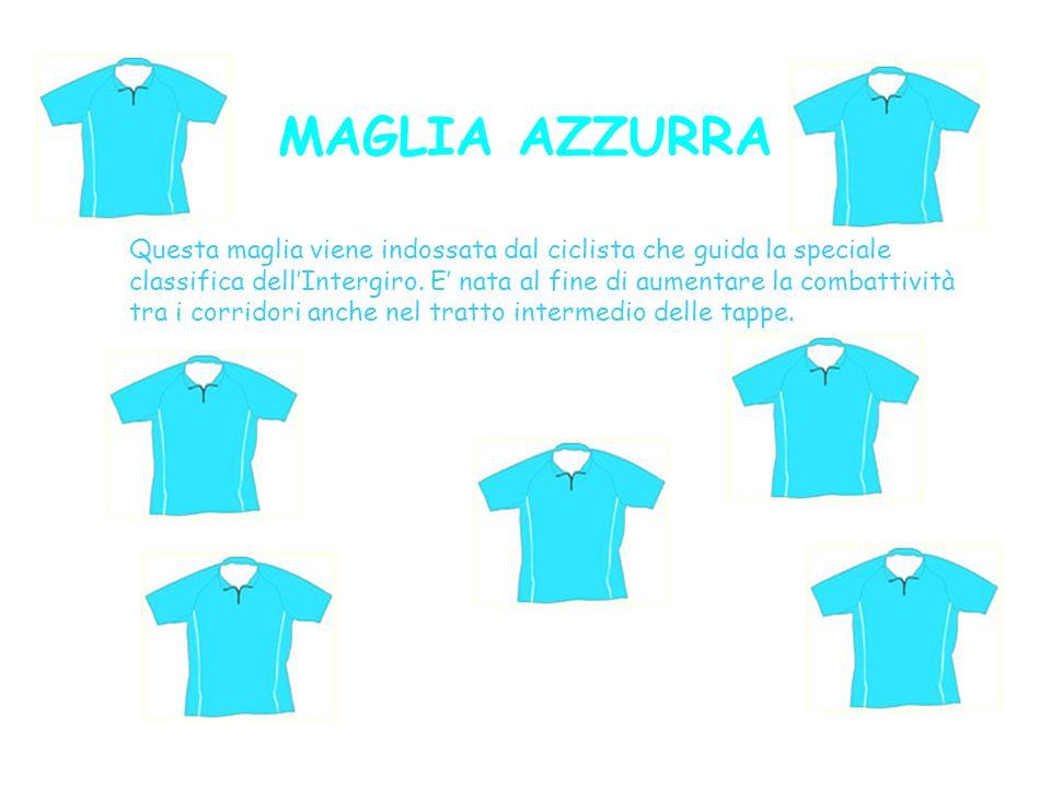 MAGLIA AZZURRA Questa maglia viene indossata dal ciclista che guida la speciale classifica dellIntergiro. E nata al fine di aumentare la combattività