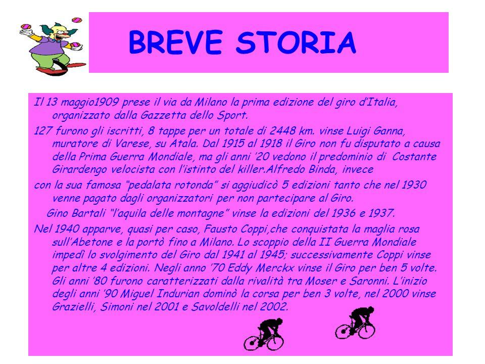 BREVE STORIA Il 13 maggio1909 prese il via da Milano la prima edizione del giro dItalia, organizzato dalla Gazzetta dello Sport. 127 furono gli iscrit