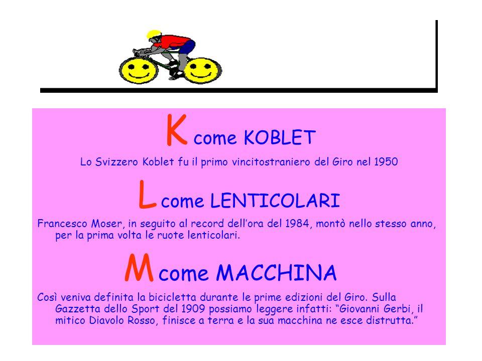 K come KOBLET Lo Svizzero Koblet fu il primo vincitostraniero del Giro nel 1950 L come LENTICOLARI Francesco Moser, in seguito al record dellora del 1