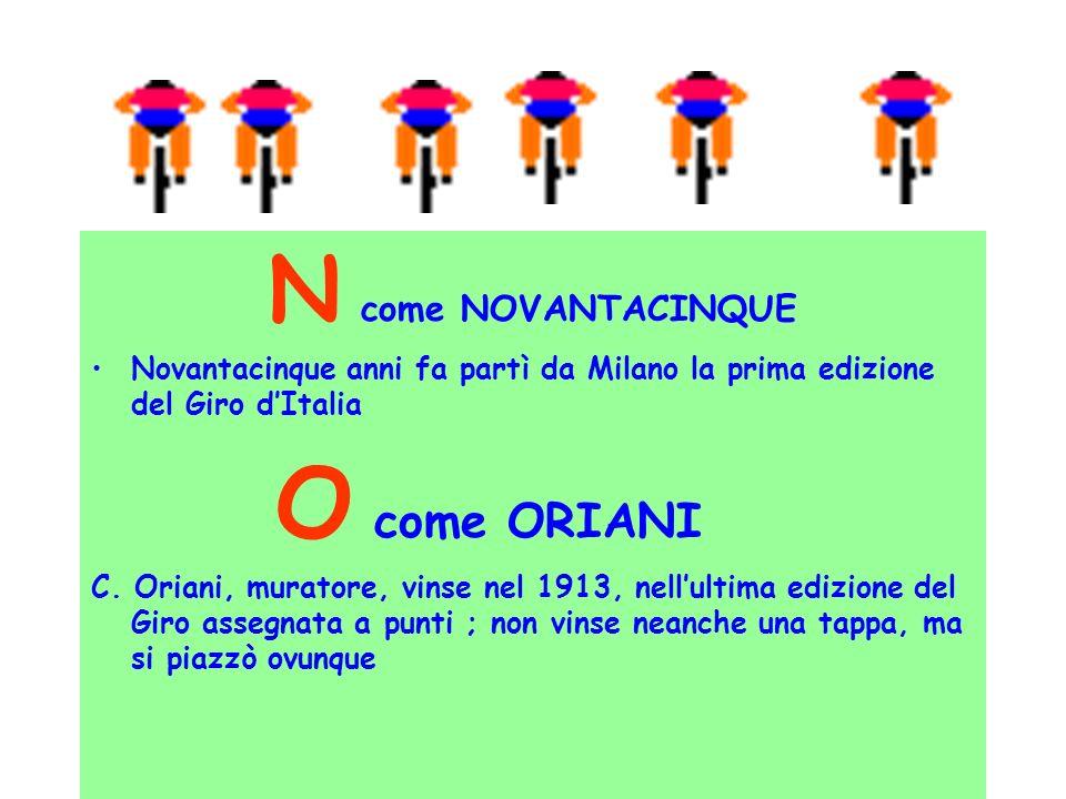 N come NOVANTACINQUE Novantacinque anni fa partì da Milano la prima edizione del Giro dItalia O come ORIANI C. Oriani, muratore, vinse nel 1913, nellu
