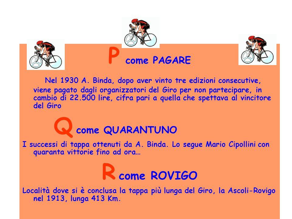 P come PAGARE Nel 1930 A. Binda, dopo aver vinto tre edizioni consecutive, viene pagato dagli organizzatori del Giro per non partecipare, in cambio di