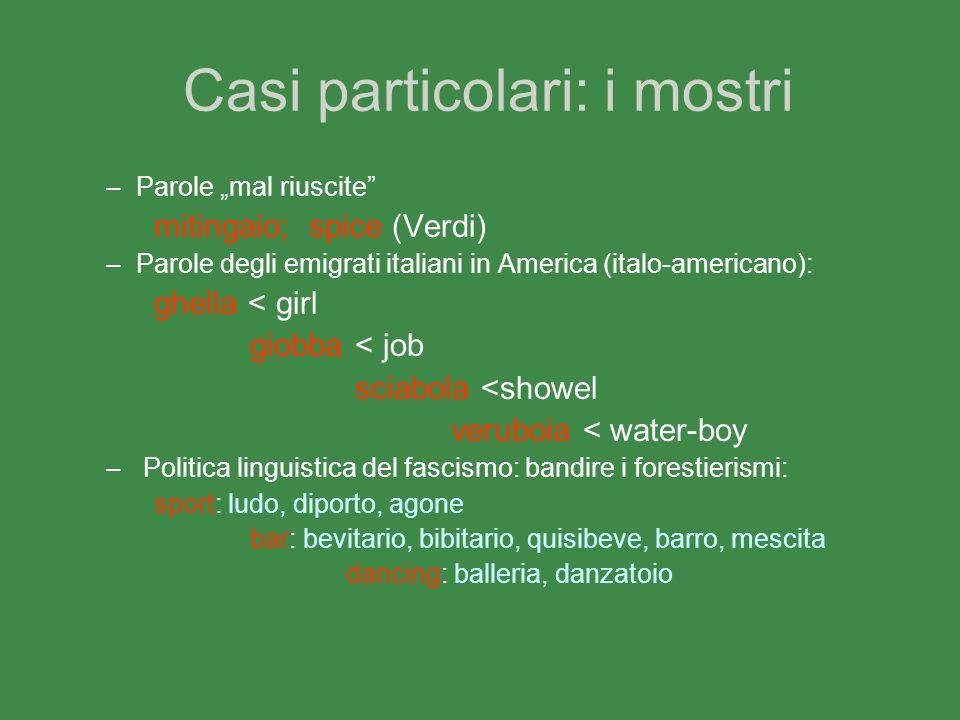 Casi particolari: i mostri –Parole mal riuscite mitingaio; spice (Verdi) –Parole degli emigrati italiani in America (italo-americano): ghella < girl g