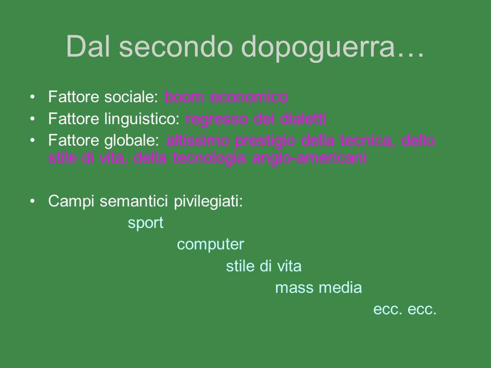 Dal secondo dopoguerra… Fattore sociale: boom economico Fattore linguistico: regresso dei dialetti Fattore globale: altissimo prestigio della tecnica,