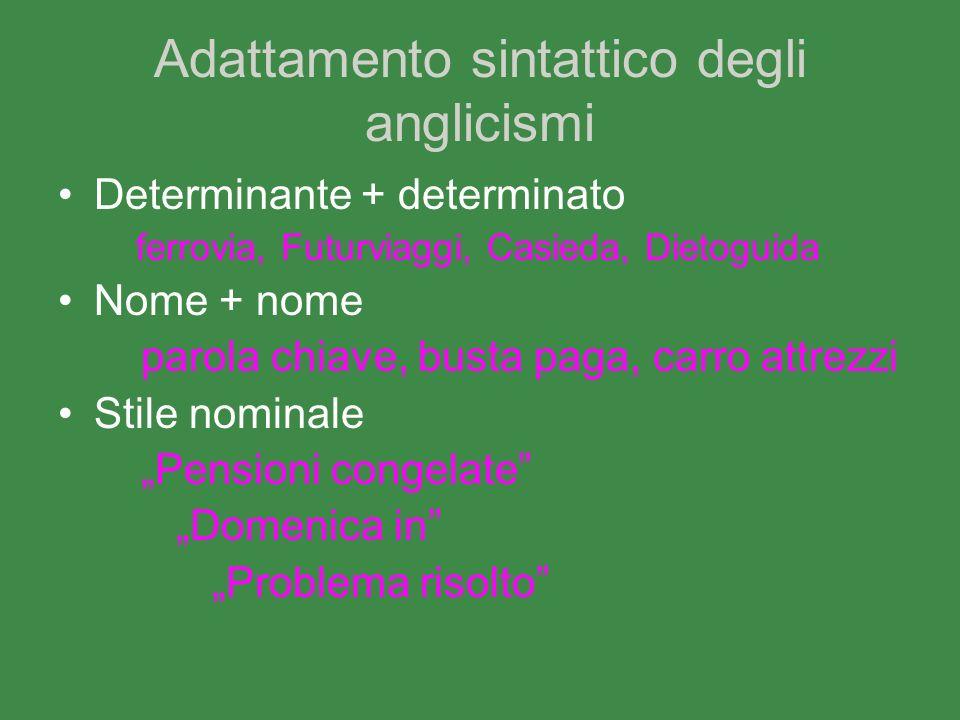 Adattamento sintattico degli anglicismi Determinante + determinato ferrovia, Futurviaggi, Casieda, Dietoguida Nome + nome parola chiave, busta paga, c