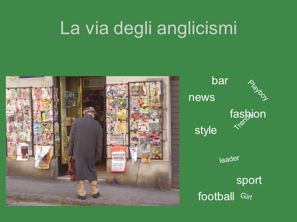 La via degli anglicismi bar news fashion style sport football Playboy Trendy Girl leader
