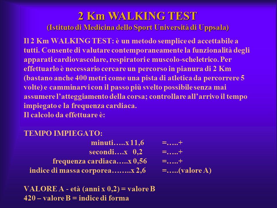 Il 2 Km WALKING TEST: è un metodo semplice ed accettabile a tutti. Consente di valutare contemporaneamente la funzionalità degli apparati cardiovascol