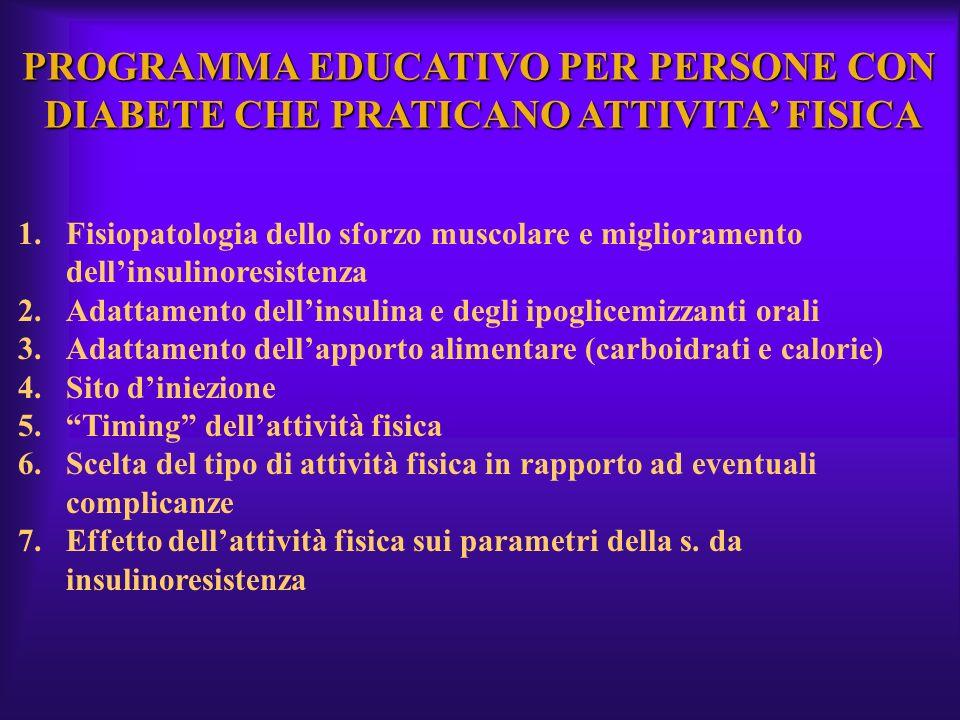 PROGRAMMA EDUCATIVO PER PERSONE CON DIABETE CHE PRATICANO ATTIVITA FISICA 1.Fisiopatologia dello sforzo muscolare e miglioramento dellinsulinoresisten