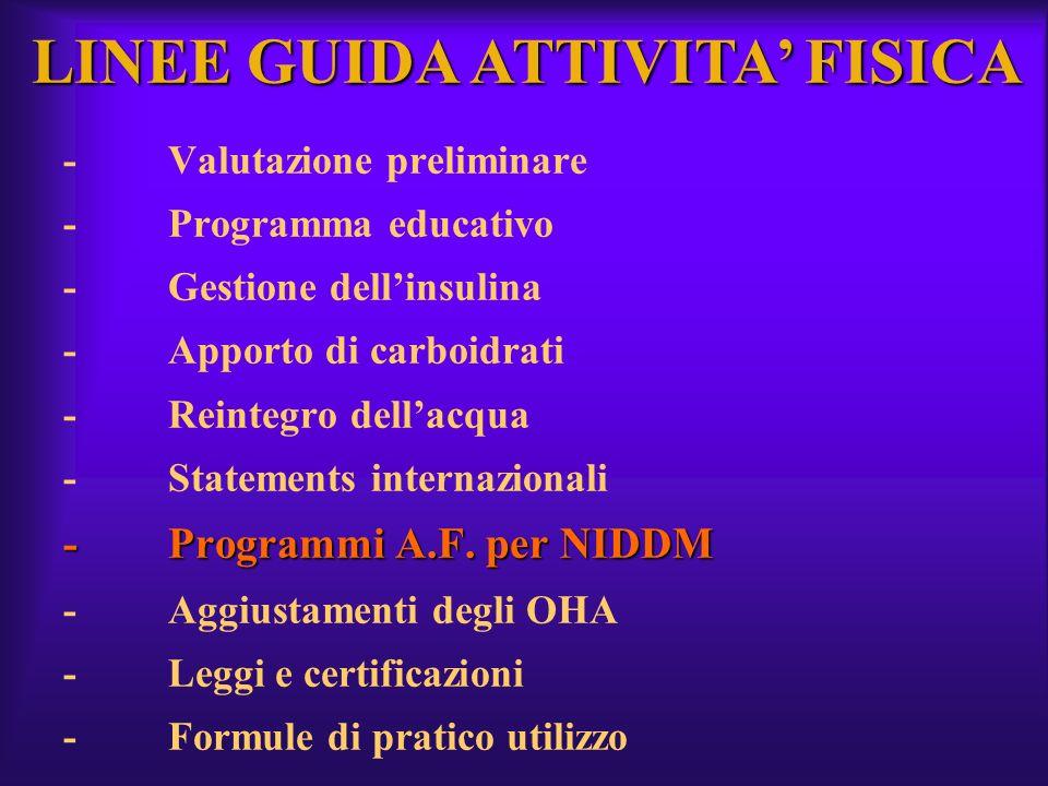 -Programmi A.F. per NIDDM -Valutazione preliminare -Programma educativo -Gestione dellinsulina -Apporto di carboidrati -Reintegro dellacqua -Statement