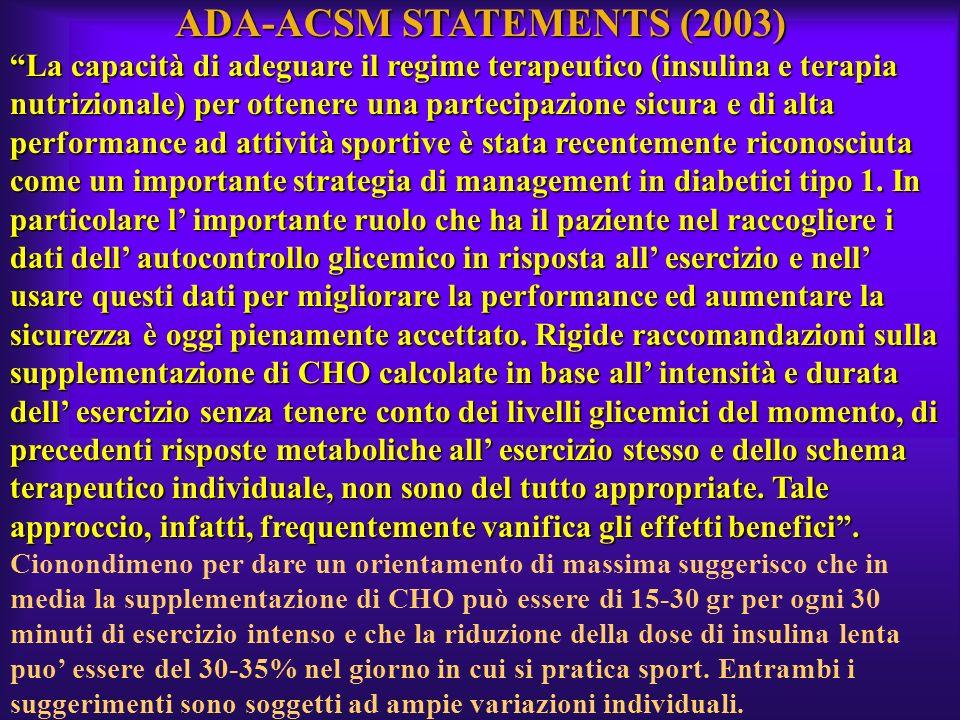 ADA-ACSM STATEMENTS (2003) La capacità di adeguare il regime terapeutico (insulina e terapia nutrizionale) per ottenere una partecipazione sicura e di
