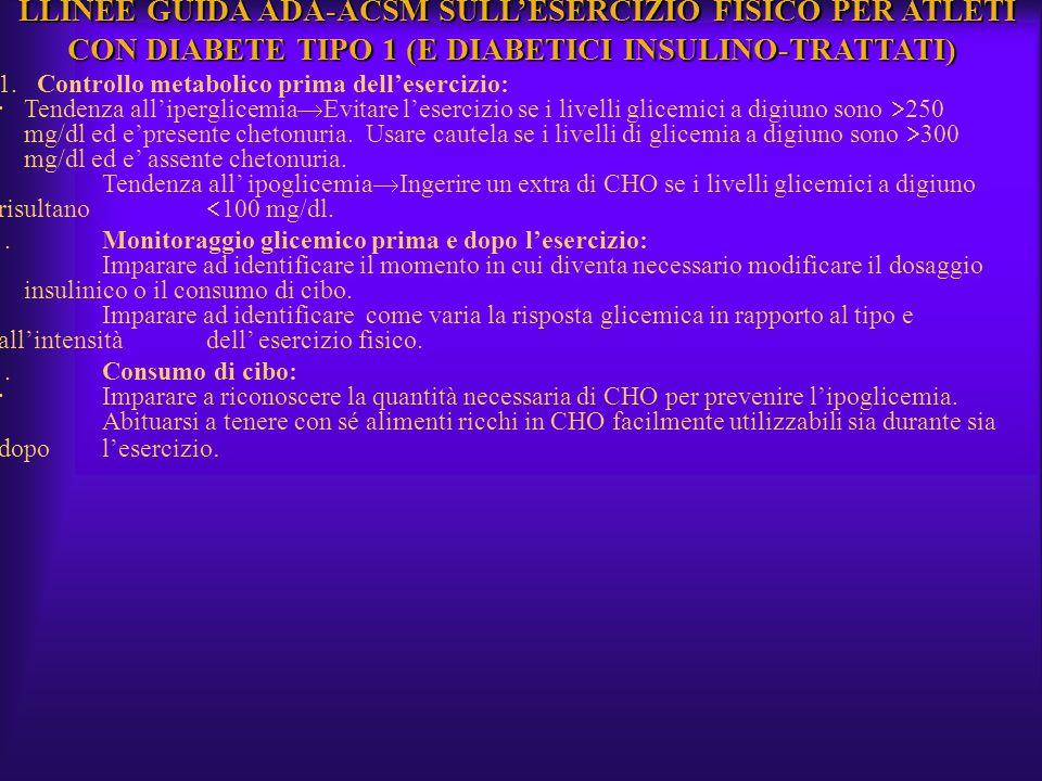 LLINEE GUIDA ADA-ACSM SULLESERCIZIO FISICO PER ATLETI CON DIABETE TIPO 1 (E DIABETICI INSULINO-TRATTATI) LLINEE GUIDA ADA-ACSM SULLESERCIZIO FISICO PE
