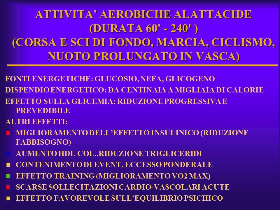 ATTIVITA AEROBICHE ALATTACIDE (DURATA 60' - 240' ) (CORSA E SCI DI FONDO, MARCIA, CICLISMO, NUOTO PROLUNGATO IN VASCA) FONTI ENERGETICHE: GLUCOSIO, NE