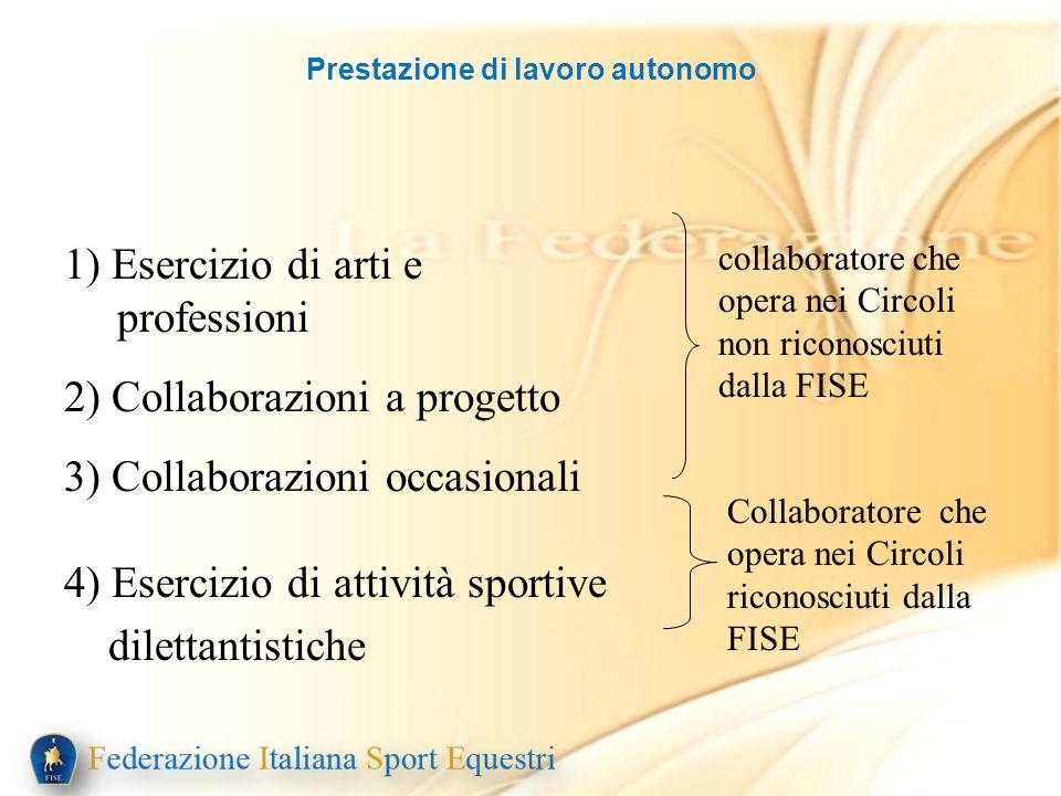 Prestazione di lavoro autonomo 1) Esercizio di arti e professioni 2) Collaborazioni a progetto 3) Collaborazioni occasionali 4) Esercizio di attività