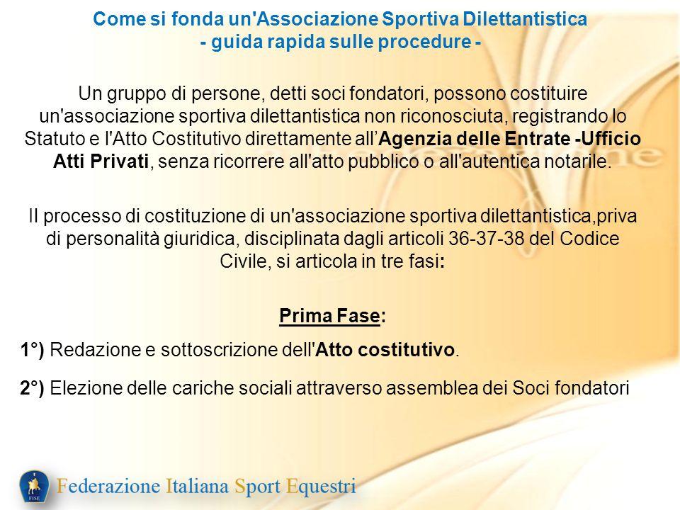 Come si fonda un'Associazione Sportiva Dilettantistica - guida rapida sulle procedure - Un gruppo di persone, detti soci fondatori, possono costituire