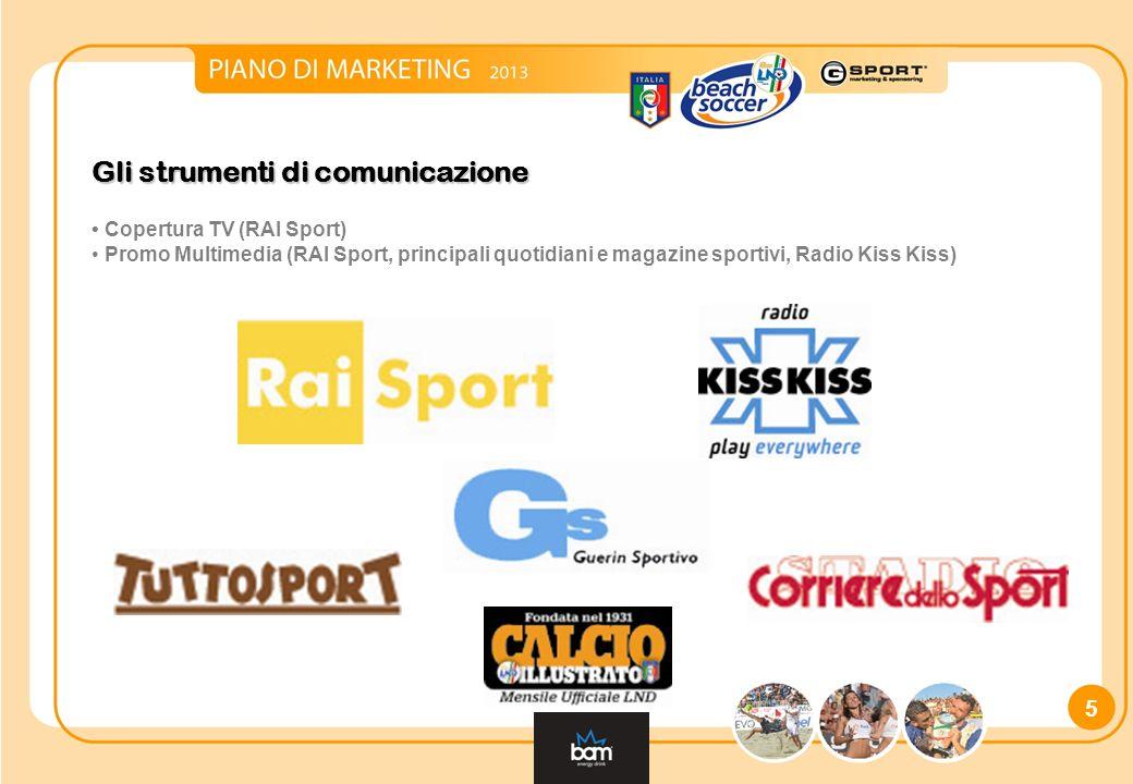 Gli strumenti di comunicazione Copertura TV (RAI Sport) Promo Multimedia (RAI Sport, principali quotidiani e magazine sportivi, Radio Kiss Kiss) 5